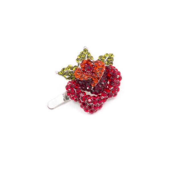 Soho Style Barrette red Rose Crystal Mini Magnetic Barrette