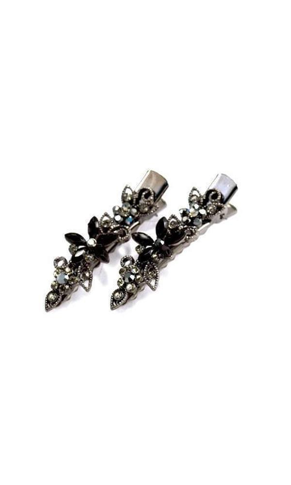 Soho Style Hair Clip Black Frosted Flora Clips (Pair)