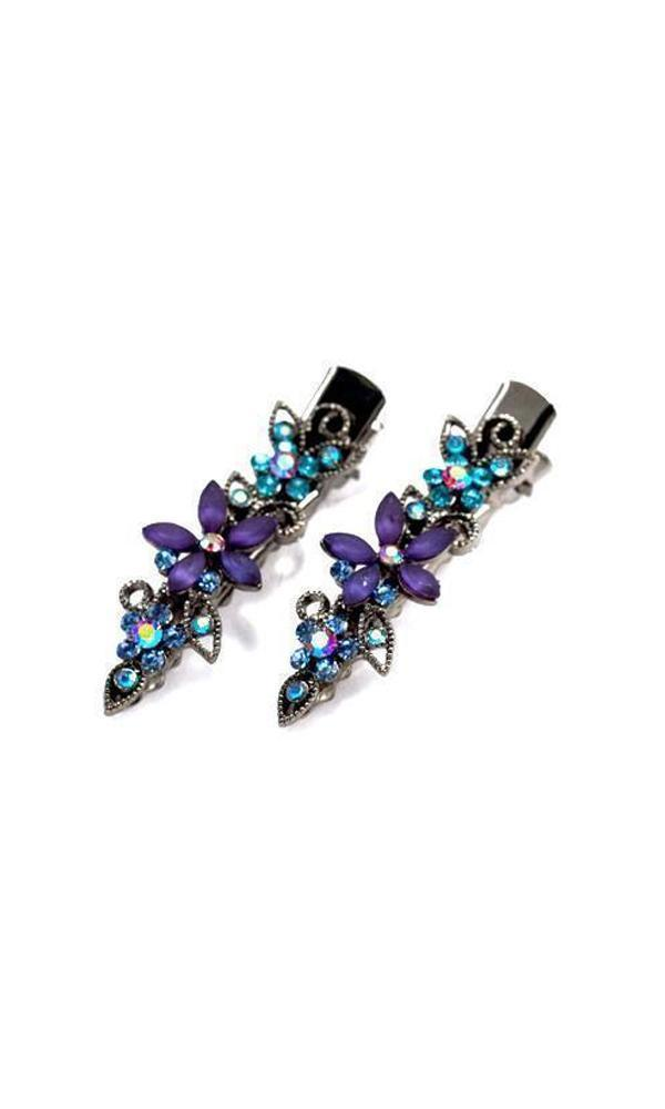 Soho Style Hair Clip Blue Frosted Flora Clips (Pair)