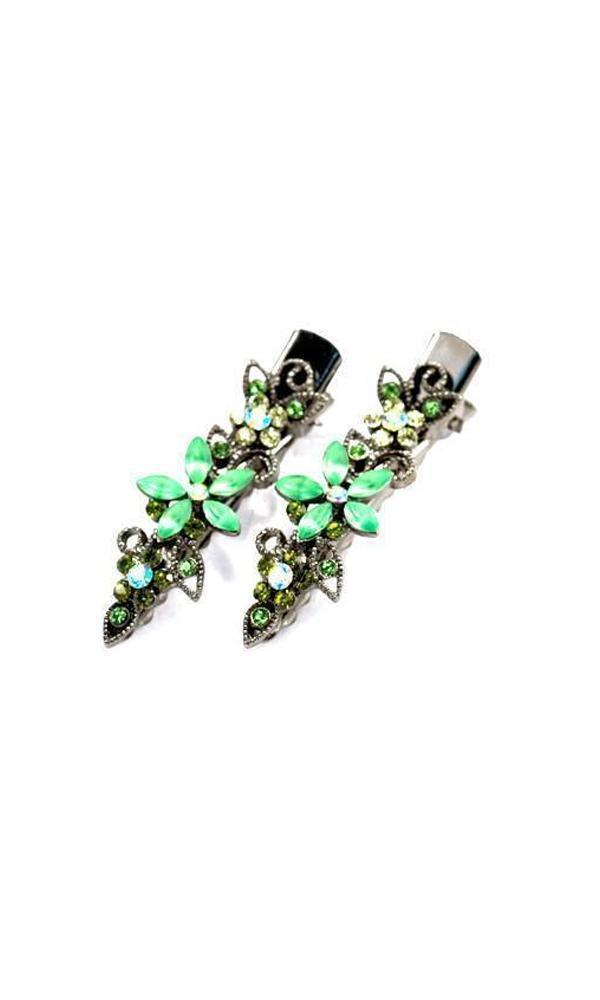 Soho Style Hair Clip Green Frosted Flora Clips (Pair)