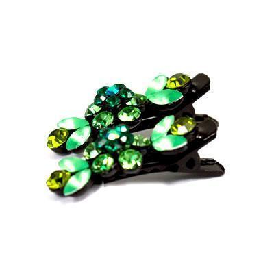 Soho Style Hair Clip Green / Pair Mini Flower Hair Clips