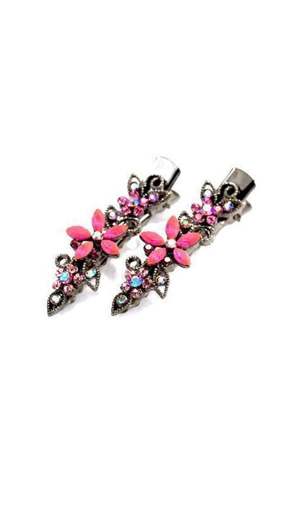 Soho Style Hair Clip Pink Frosted Flora Clips (Pair)