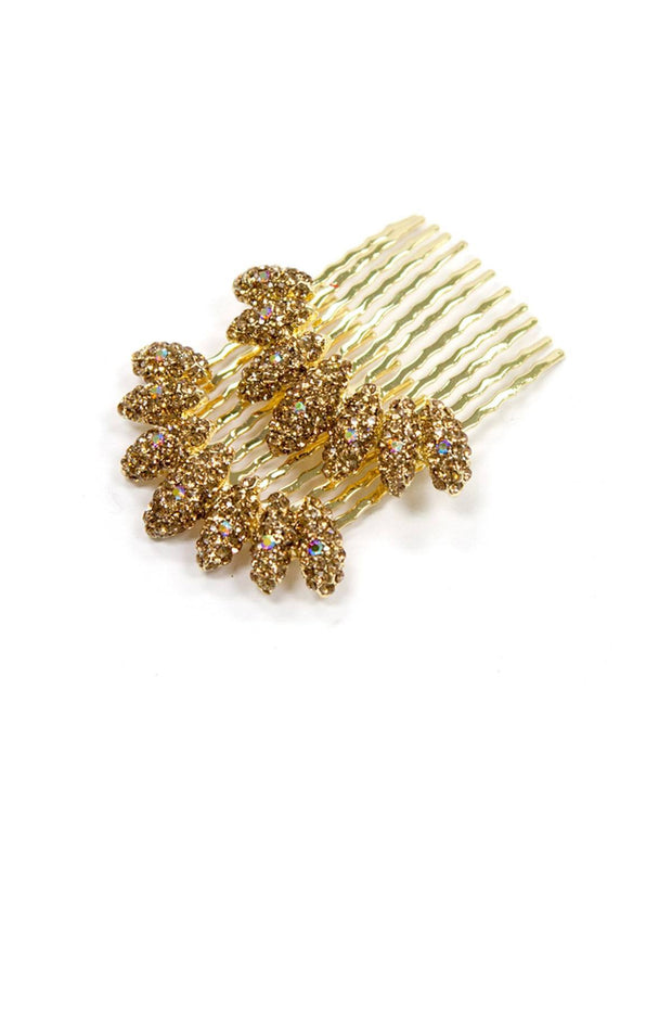 Soho Style Hair Comb Amber Almond Cluster Crystal Comb