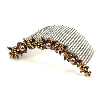 Soho Style Hair Comb Amber Pearl & Crystal Curved Comb