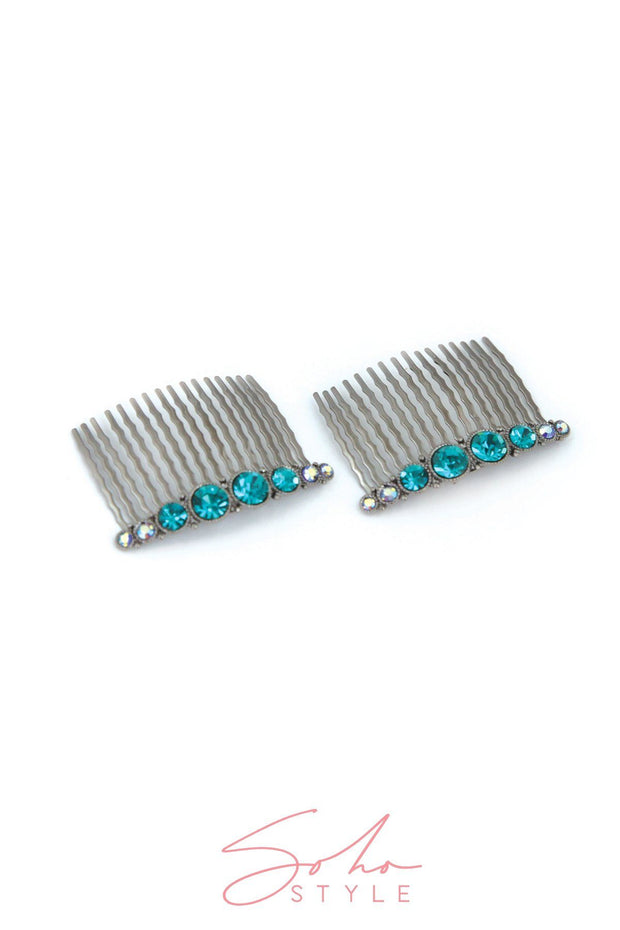 Bejeweled Hair Combs (Pair)