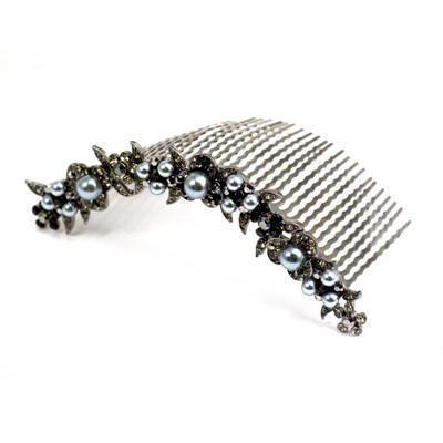 Soho Style Hair Comb Black Pearl & Crystal Curved Comb