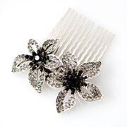 Soho Style Hair Comb Black Rhinestone Beaded Floral Comb