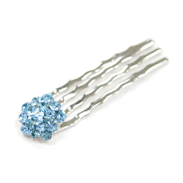 Soho Style Hair Comb BLUE Crystal Cluster Mini Hair Comb