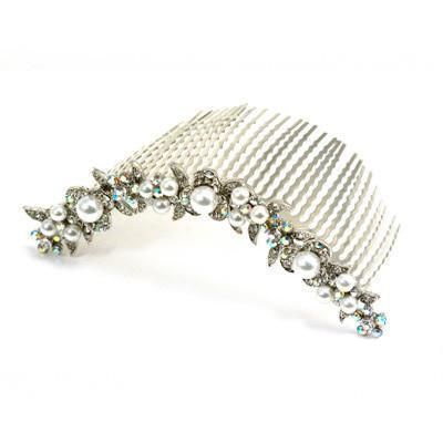 Soho Style Hair Comb Clear Pearl & Crystal Curved Comb