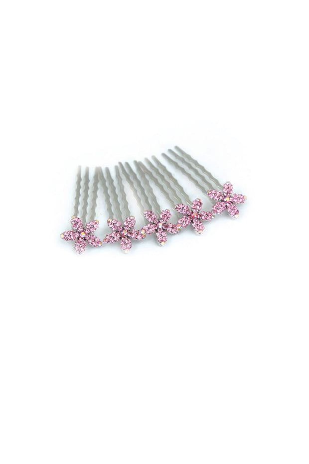 Crystal Flower Mini Hair Comb (5 piece set)