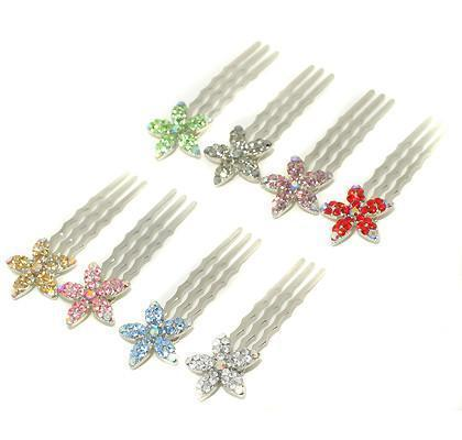 Crystal Flower Mini Hair Comb (5 piece set) -  Hair Comb, Soho Style