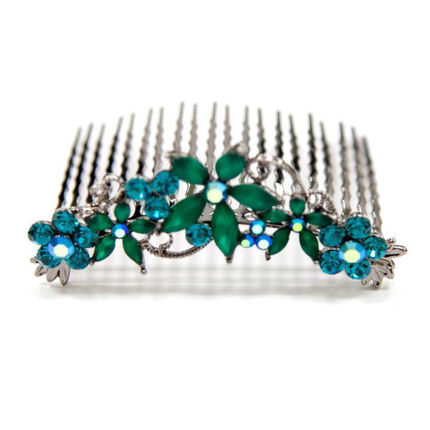 Crystal Hair Comb with Frosted Flowers -  Hair Comb, Soho Style