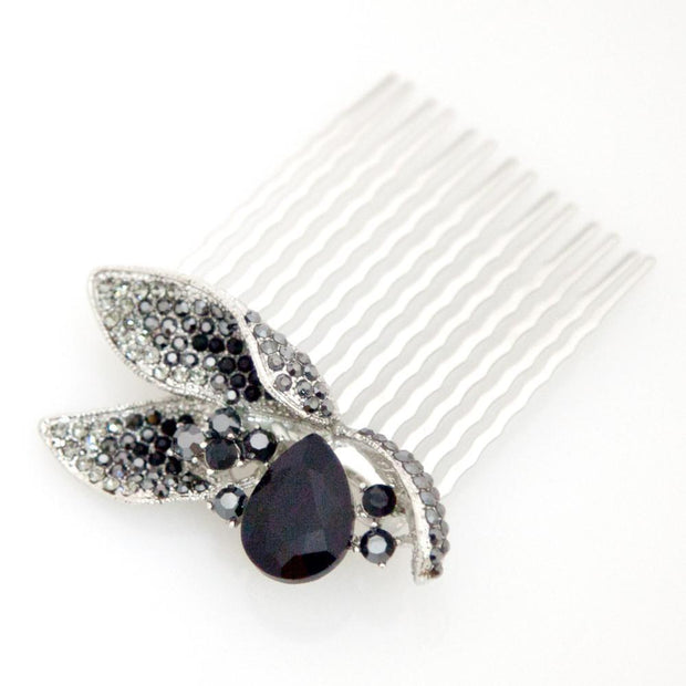 Soho Style Hair Comb Pear shaped Crystal with Leaves comb