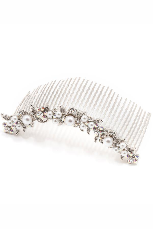 Pearl & Crystal Curved Comb