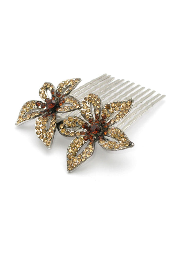Soho Style Hair Comb Clear Rhinestone Beaded Floral Comb