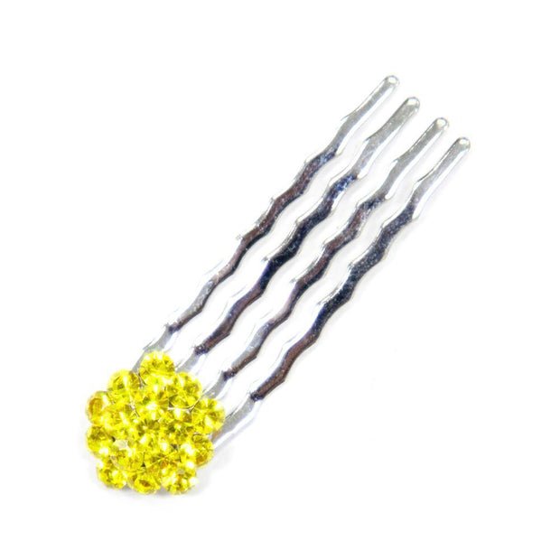 Soho Style Hair Comb YELLOW Crystal Cluster Mini Hair Comb