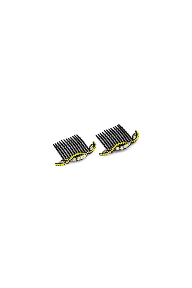 Soho Style Hair Comb yellow Summer Wave Crystal Hair Comb (Sold as a Pair)