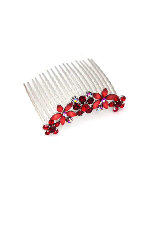 Jane Frosted Flower Crystal Hair Comb (Sold as a pair)
