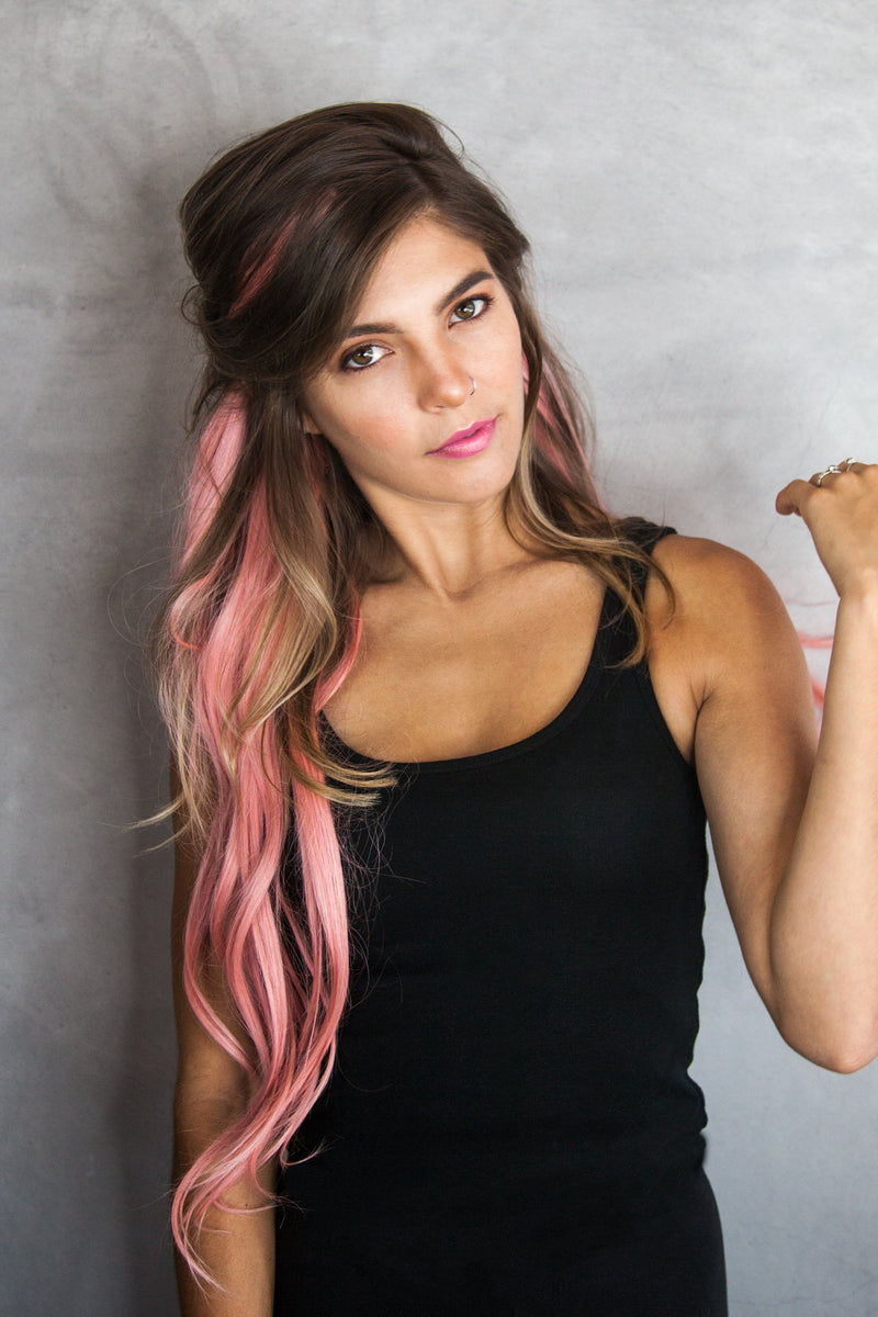 Soho Style Hair Extension human pink ombre Pastel Pink Ombre Human Hair Extensions