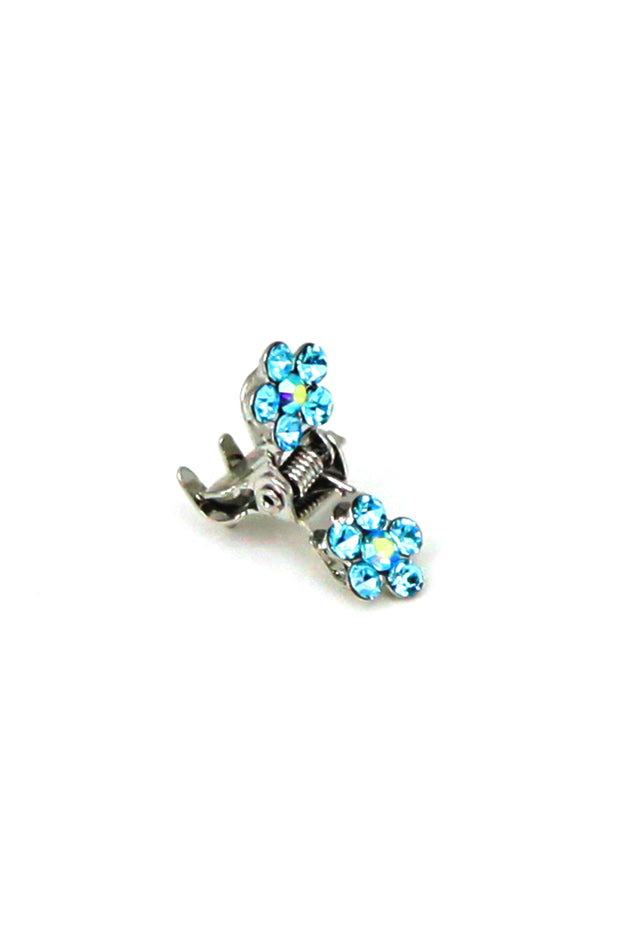 Soho Style Hair Jaws Aqua / Pack of 5 Mini Flower Hair Jaws with Crystal Petals Silver Body