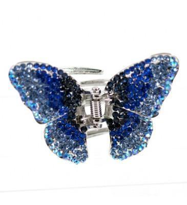 Soho Style Hair Jaws Blue / Single Ombre Crystal Butterfly Jaw