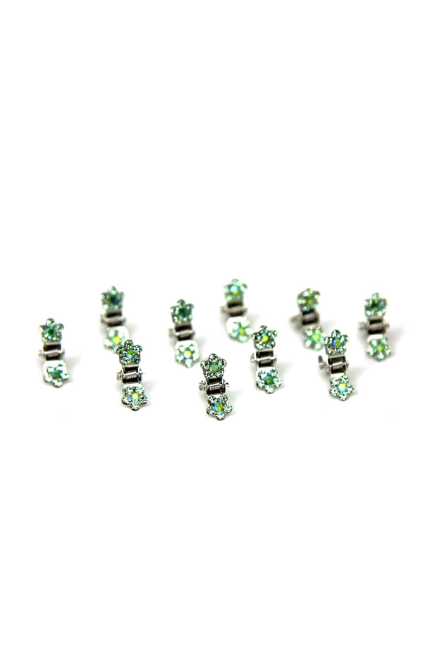 Soho Style Hair Jaws Emerald / Pack of 5 Mini Flower Hair Jaws with Crystal Petals Silver Body