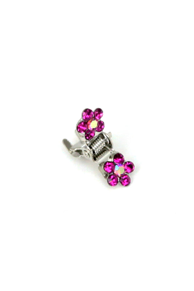 Soho Style Hair Jaws Fuchsia / Pack of 5 Mini Flower Hair Jaws with Crystal Petals Silver Body