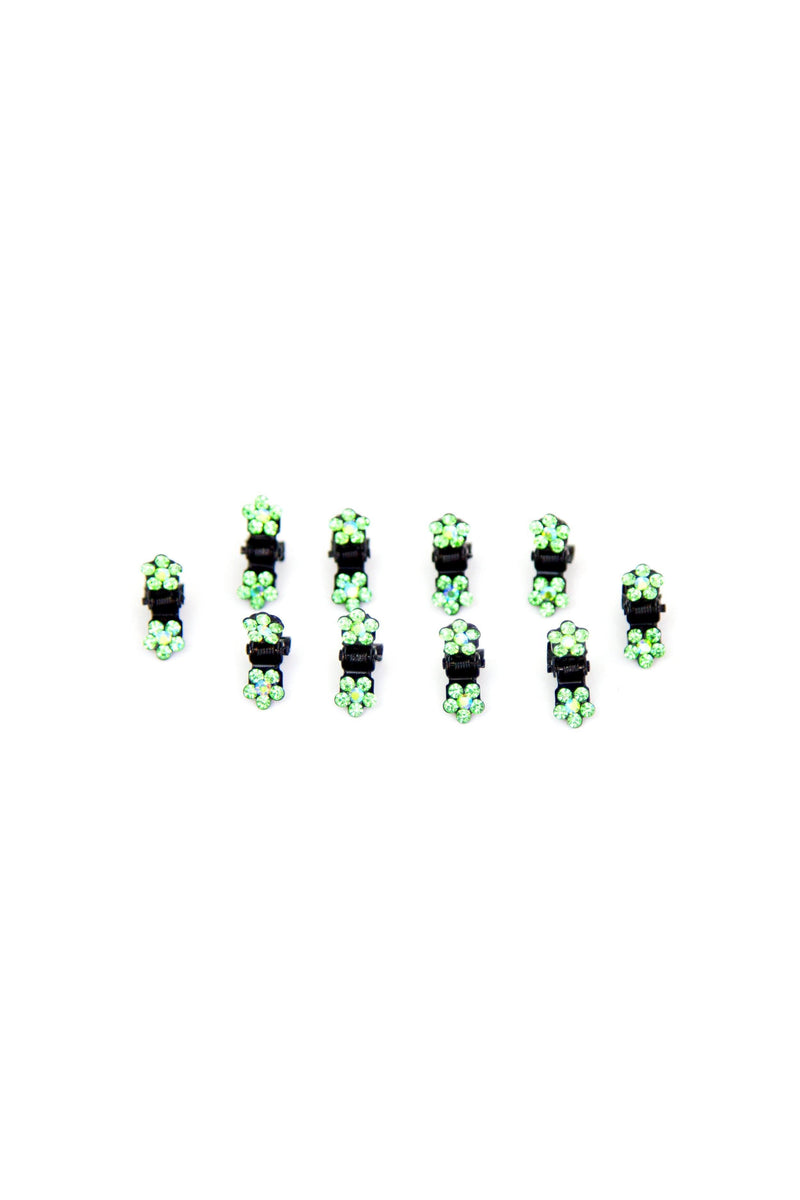 Soho Style Hair Jaws Green / Pack of 10 Mini Flower Hair Jaws with Crystal Petals Black Body