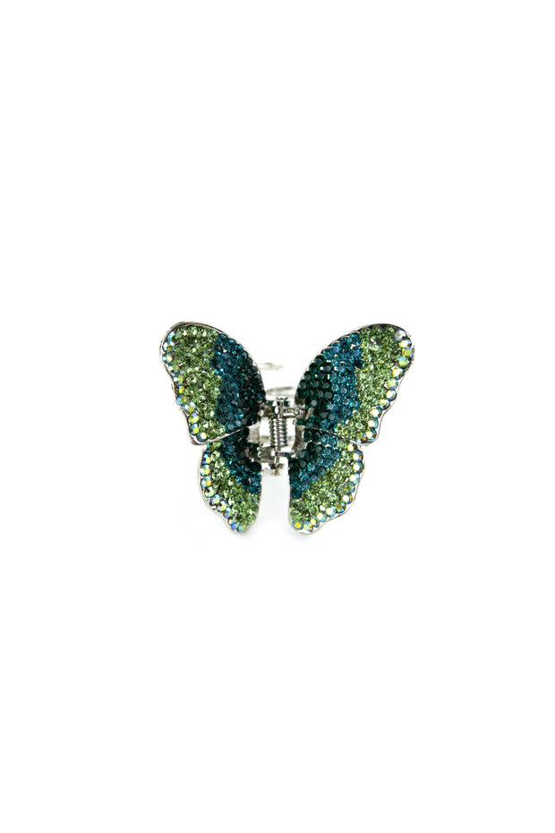 Soho Style Hair Jaws Green / Single Ombre Crystal Butterfly Jaw