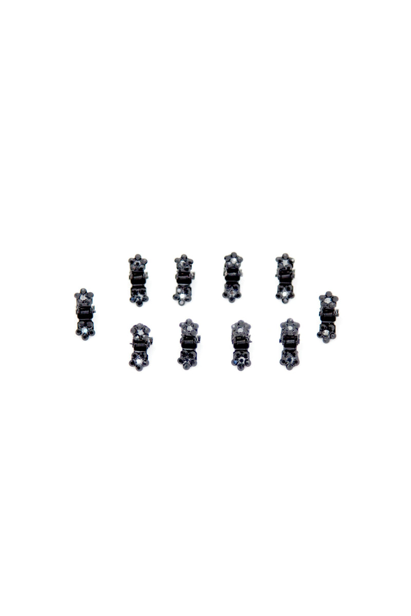 Soho Style Hair Jaws Jet Black / Pack of 10 Mini Flower Hair Jaws with Crystal Petals Black Body