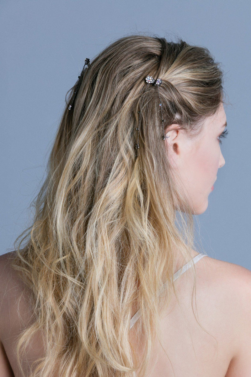 Mini Flower Hair Jaw with Dangles (Pair) - Soho Style
