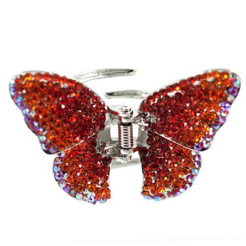 Soho Style Hair Jaws Red / Single Ombre Crystal Butterfly Jaw