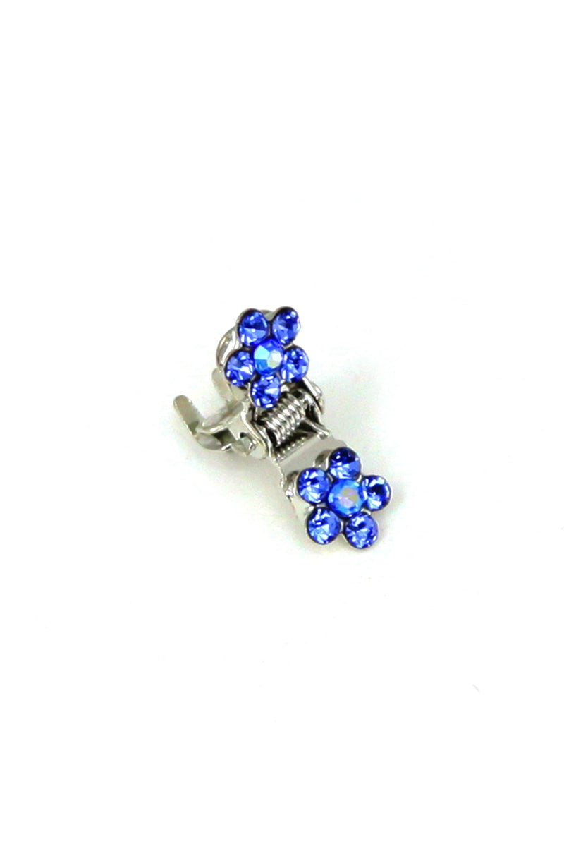 Soho Style Hair Jaws Sapphire / Pack of 5 Mini Flower Hair Jaws with Crystal Petals Silver Body