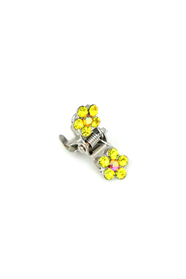 Soho Style Hair Jaws Yellow / Pack of 5 Mini Flower Hair Jaws with Crystal Petals Silver Body