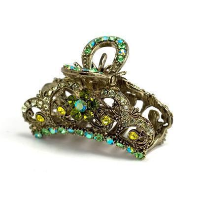 Soho Style Hair Jewelry Green Simple Medium-sized Hair Jaw with Crystal Flowers