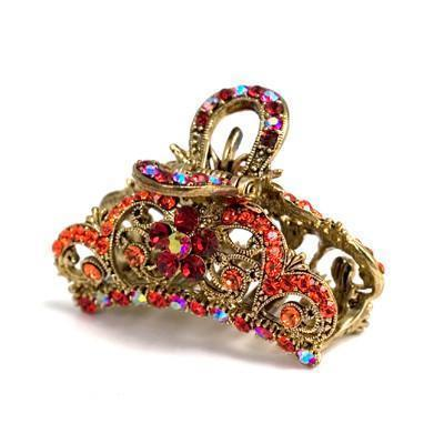 Soho Style Hair Jewelry Red Simple Medium-sized Hair Jaw with Crystal Flowers