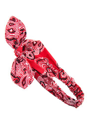 Soho Style Headband red-black Bow Tie Print Circle Headband