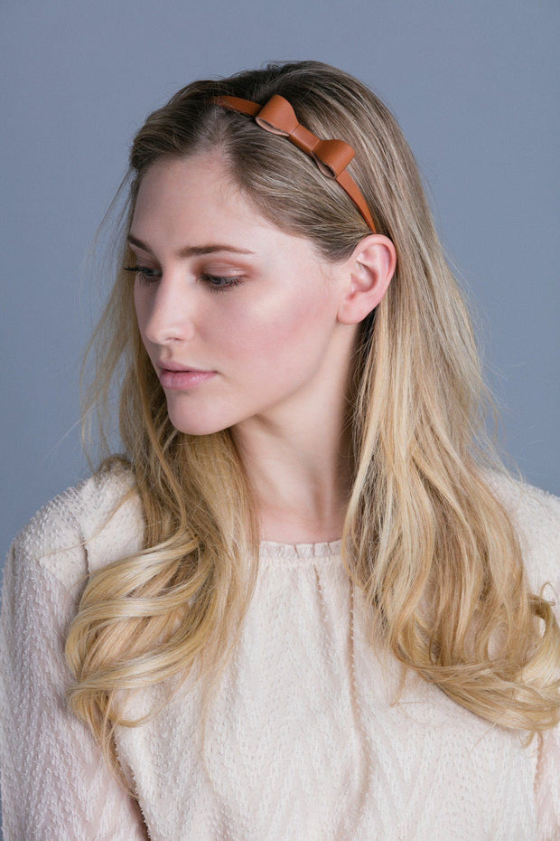 Soho Style Headbands Leather Bow Elastic Headband