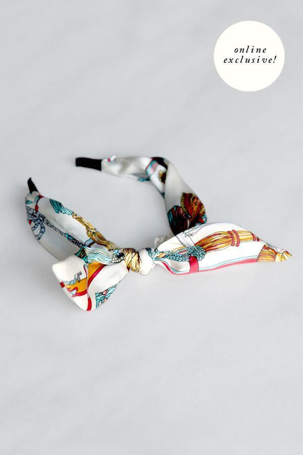 Soho Style Headbands multi-cream Printed Bow Tie Headband