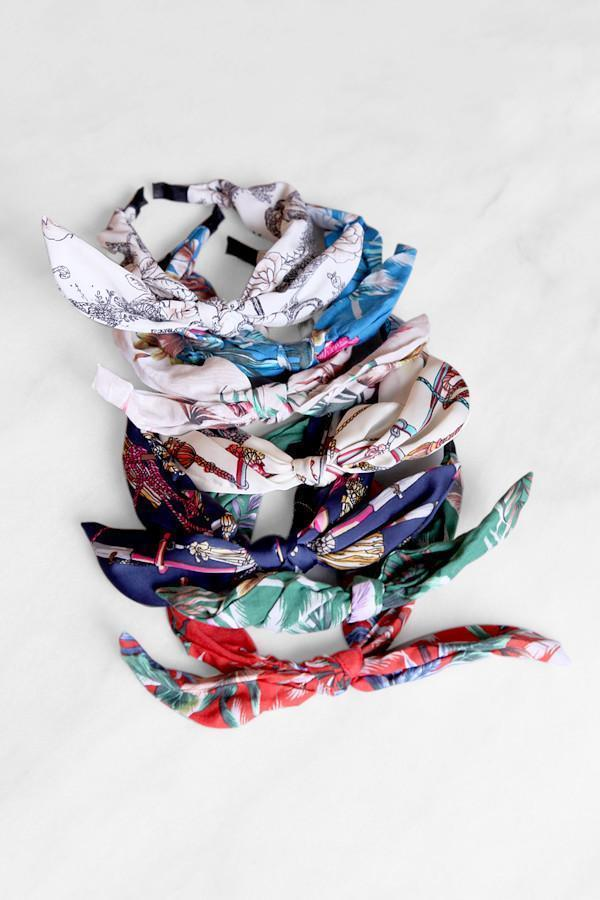 Soho Style Headbands Printed Bow Tie Headband
