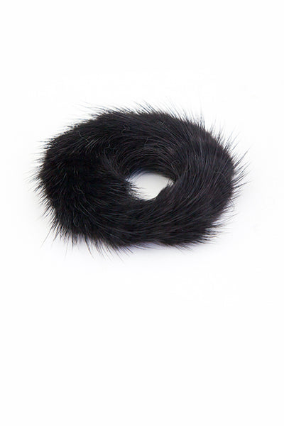 Soho Style Ponytail Holder black Lora Mink Fur Ponytail Holder