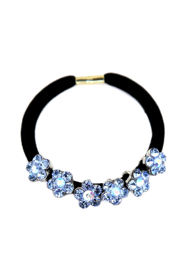 Soho Style Ponytail Holder Blue Dainty Crystal Flower Ponytail Holder