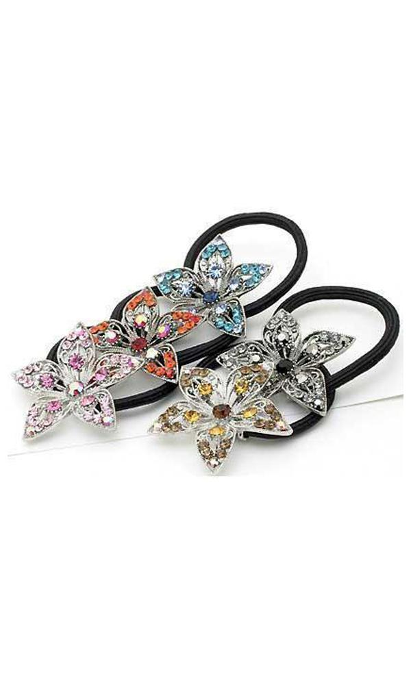 Soho Style Ponytail Holder clear Flower Crystal Petal Ponytail holder