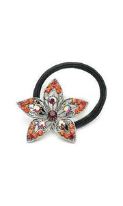 Flower Crystal Petal Ponytail holder