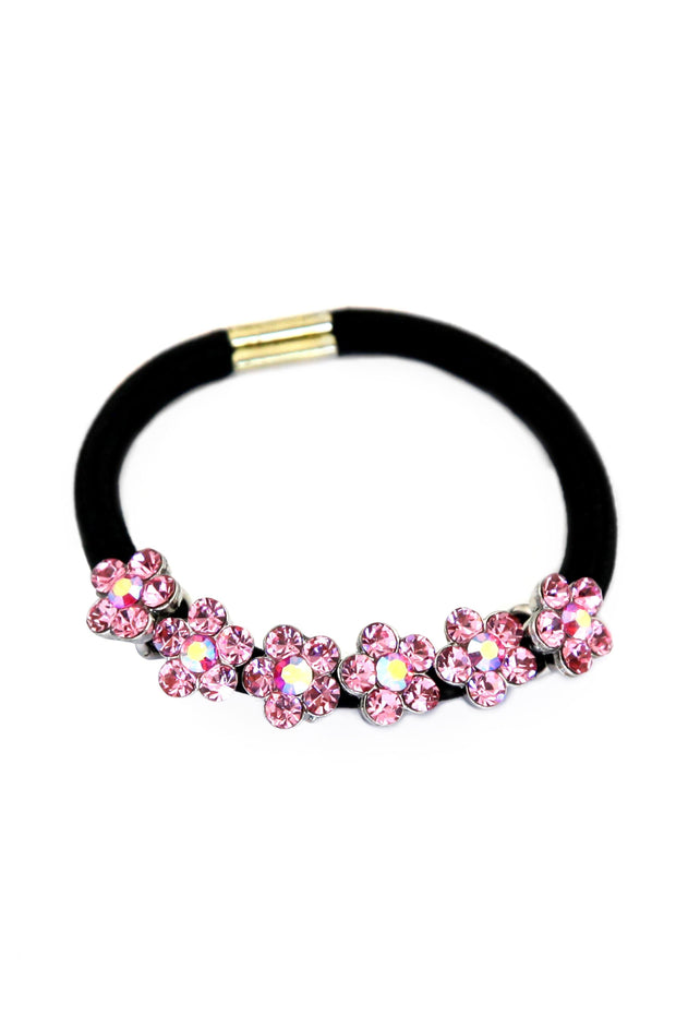 Soho Style Ponytail Holder Pink Dainty Crystal Flower Ponytail Holder