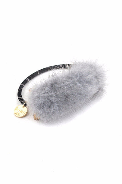 Soho Style Ponytail Holder silver Mink Fox Ponytail Holder