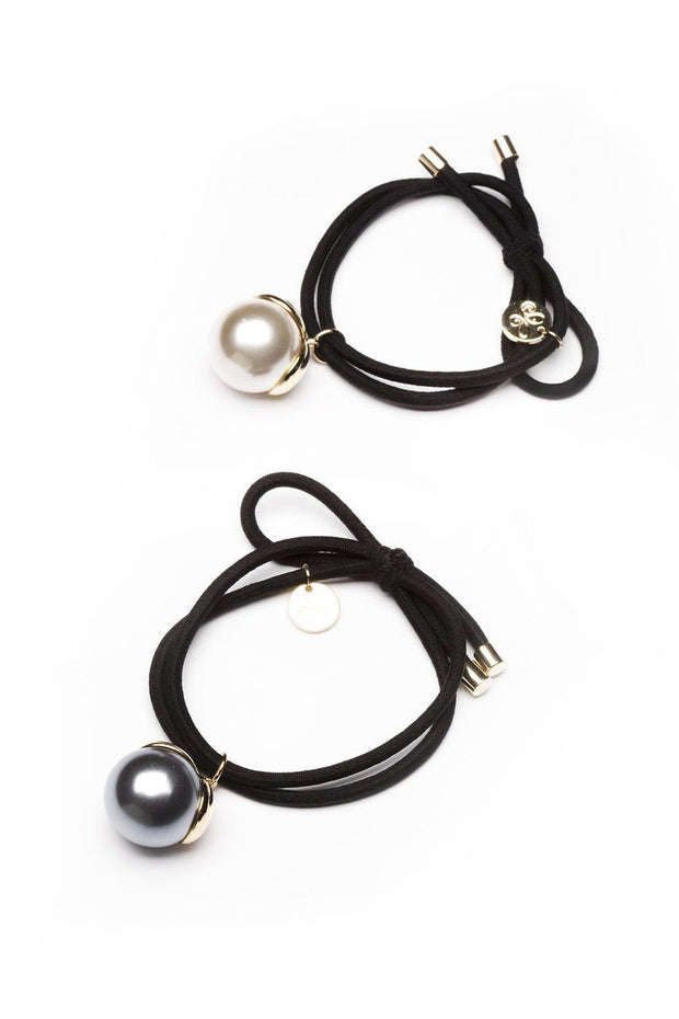 Soho Style Ponytail Holder Tara Pearl Chrome Ponytail Holder