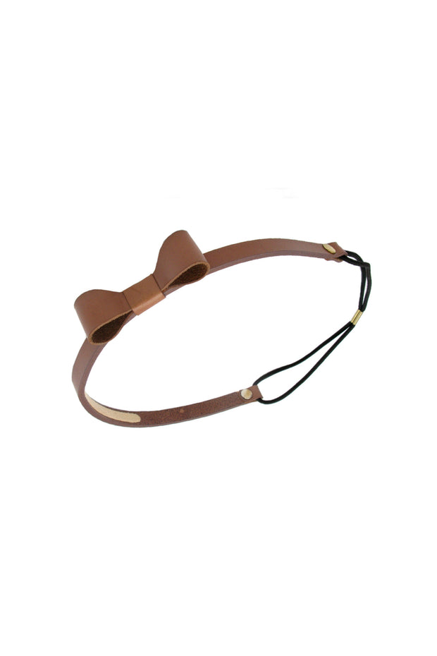 Soho Style Sale Amber Leather Bow Elastic Headband