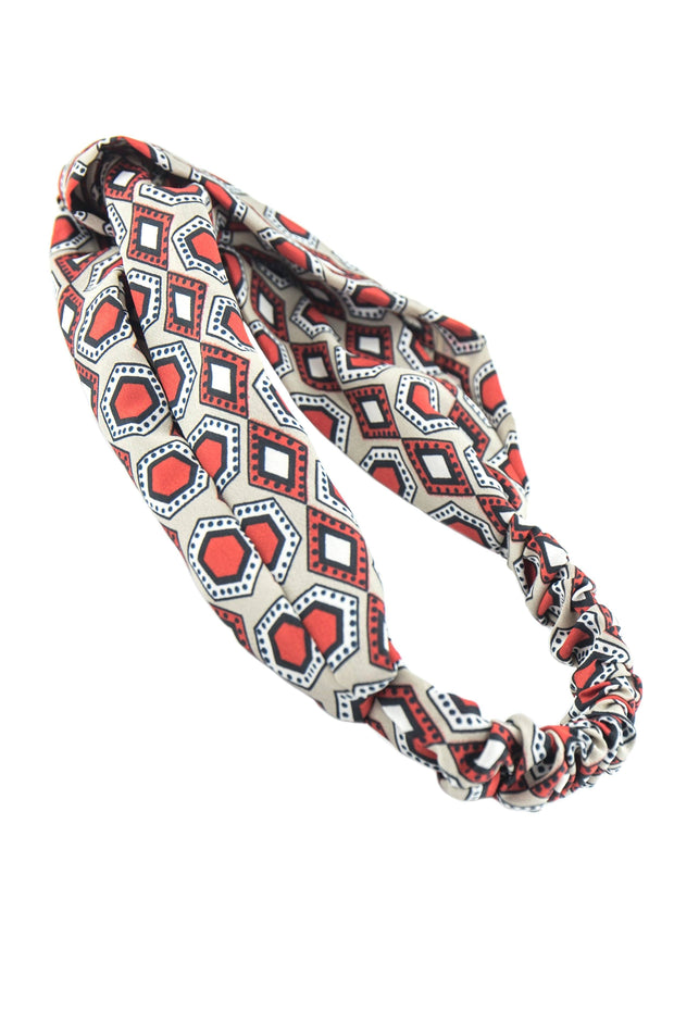 Soho Style Sale cream orange Swinging 60's Print Head Wrap