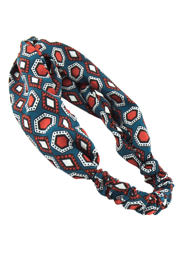 Soho Style Sale peacock orange Swinging 60's Print Head Wrap